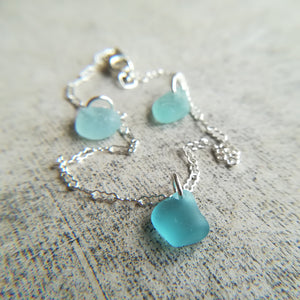 Ocean Blue Trio - Sea Glass Bracelet