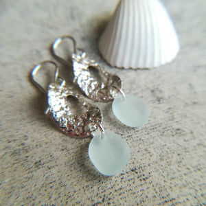 Hammered Hoops + Blue Seafoam - Sea Glass Earrings