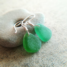 Load image into Gallery viewer, Kelly Green + Sage - Sea Glass Earrings