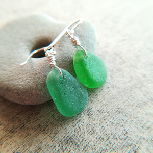 Kelly Green + Sage - Sea Glass Earrings