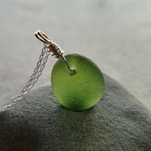 Moss Green - Sea Glass Necklace