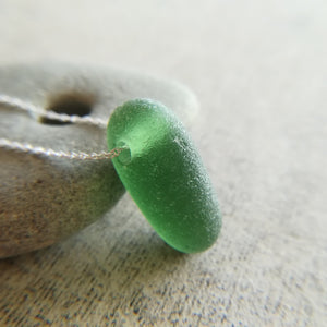 Forest Green Bubble - Sea Glass Necklace