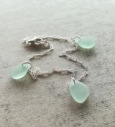 Sea Foam Trio - Sea Glass Bracelet