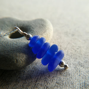 Cobalt Stack - Sea Glass Necklace