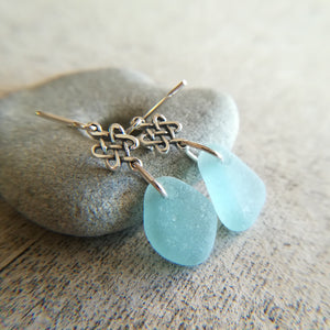 Celtic Knots + Blue Seafoam - Sea Glass Earrings