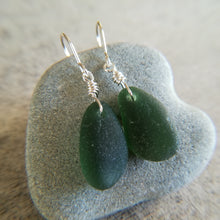 Load image into Gallery viewer, Forest Green - Sea Glass Earrings