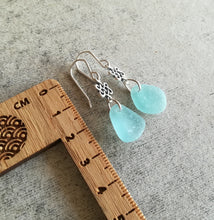 Load image into Gallery viewer, Celtic Knots + Blue Seafoam - Sea Glass Earrings
