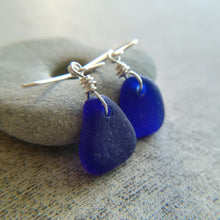 Load image into Gallery viewer, Cobalt Blue - Sea Glass Earrings