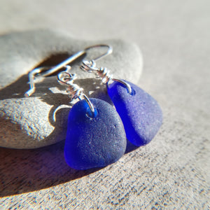 Cobalt Blue - Sea Glass Earrings