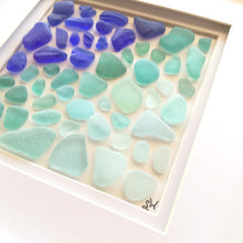 Load image into Gallery viewer, Oceanic Ombré Collection - Sea Glass Art - 10X10 White Frame