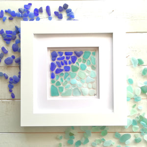 Oceanic Ombré Collection - Sea Glass Art - 10X10 White Frame