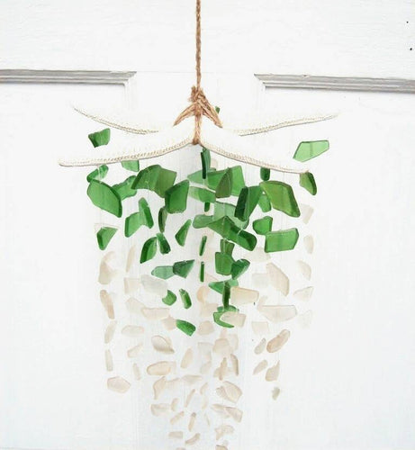 PALM GREEN + WHITE STARFISH SUNCATCHER