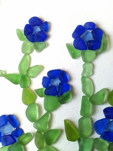 Cobalt Flowers - Sea Glass Art - 10x10 White Frame