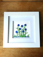 Load image into Gallery viewer, Cobalt Flowers - Sea Glass Art - 10x10 White Frame