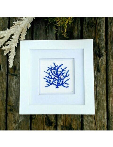 Cobalt Coral - Sea Glass Art - 10x10 White Frame