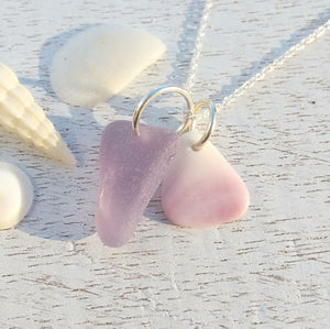 Lavender + Wampum - Sea Glass Necklace