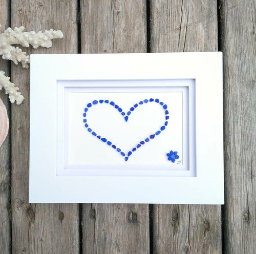 Cobalt Heart + Flower Accent - Sea Glass Art - 9x7 White Frame