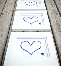 Load image into Gallery viewer, Cobalt Heart + Flower Accent - Sea Glass Art - 9x7 White Frame