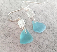 Load image into Gallery viewer, Hammered Silver + Ocean Blue - Sea Glass Earrings