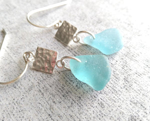 Hammered Silver + Ocean Blue - Sea Glass Earrings