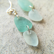 Load image into Gallery viewer, Blue Duo - Sea Glass Earrings
