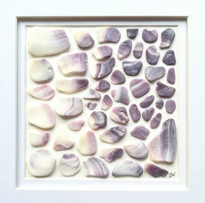 Wampum Ombré - Sea Shell Art - 10x10 White Frame