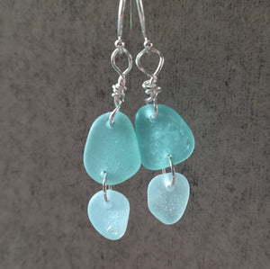 Blue Duo - Sea Glass Earrings