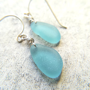 Aqua - Sea Glass Earrings