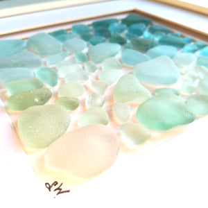 Tropical Ombré - Sea Glass Art - 10x10 White Frame