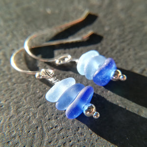 Ocean Blue Ombré - Sea Glass Earrings
