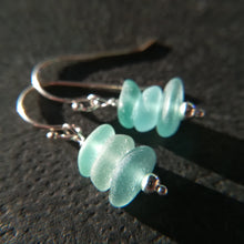 Load image into Gallery viewer, Ocean Blue Stacks - Sea Glass Earrings
