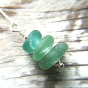 Teals Stack - Sea Glass Necklace
