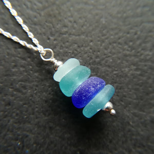 Ocean Blues Stack - Sea Glass Necklace
