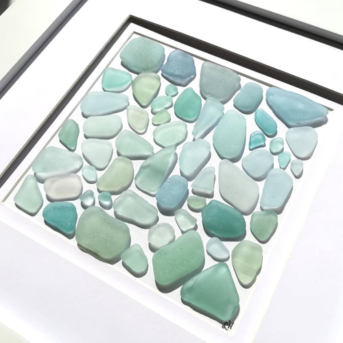 Seafoams Collection - Sea Glass Art - 10x10 White Frame