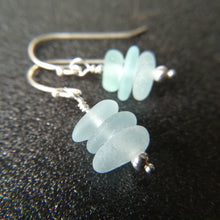 Load image into Gallery viewer, Blue Seafoam Stacks - Sea Glass Earrings