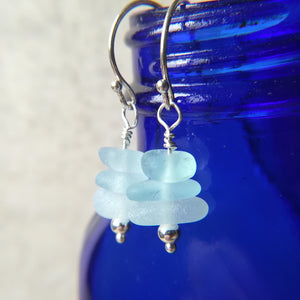 Blue Seafoam Stacks - Sea Glass Earrings