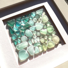 Load image into Gallery viewer, Tropical Ombré - Sea Glass Art - 10x10 White Frame