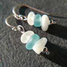 Load image into Gallery viewer, Teal + Milk White - Sea Glass Earrings
