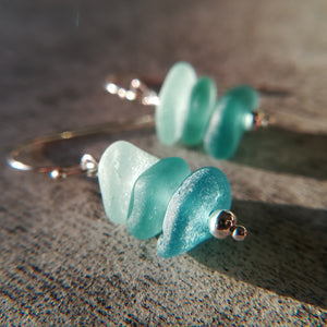 Ocean Blue Stacks - Sea Glass Earrings