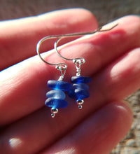 Load image into Gallery viewer, Cobalt + Cornflower Stacks - Sea Glass Earrings