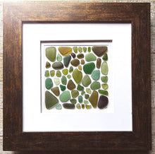 Load image into Gallery viewer, Woodland Collection - Sea Glass Art - 10x10 Brown Frame