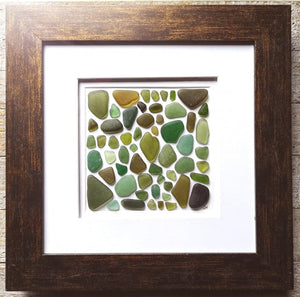 Woodland Collection - Sea Glass Art - 10x10 Brown Frame