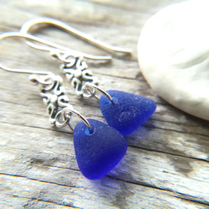Silver Scroll + Cobalt - Sea Glass Earrings