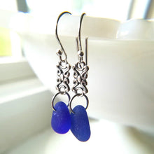 Load image into Gallery viewer, Silver Scroll + Cobalt - Sea Glass Earrings