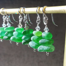 Load image into Gallery viewer, Christmas Tree - Sea Glass Earrings
