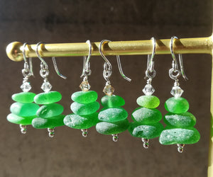 Christmas Tree - Sea Glass Earrings
