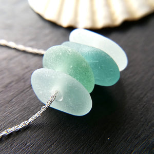 Ocean White Caps - Sea Glass Necklace