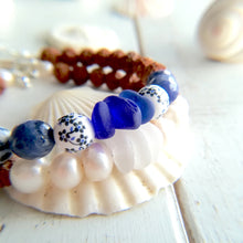 Load image into Gallery viewer, Cobalt Sea Mala - Sea Glass Bracelet
