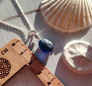 Blue Black Bubble - Sea Glass Necklace