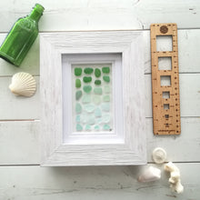 Load image into Gallery viewer, Seafoam Ombré - Sea Glass Art - 9x7 White Frame